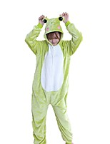 Kigurumi Pajamas Frog Festival/Holiday Animal Sleepwear Halloween Fashion Embroidered Flannel Fabric Cosplay Costumes Kigurumi ForCouples
