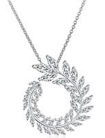 Жен. Ожерелья с подвесками Круглый Стерлинговое серебро Циркон Позолота Базовый дизайн По заказу покупателя Бижутерия НазначениеСвадьба
