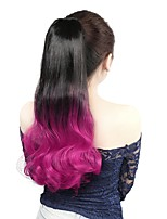 Neitsi 1Pcs 22'' 110g Wrap Around Ponytail Hair Extensions Curl Wave Synthetic Ombre Ponytail T-Rose