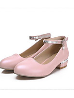 Women's Shoes PU Spring Fall Comfort Heels For Casual White Beige Green Light Pink