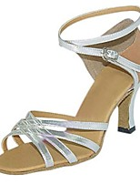 Da donna Balli latino-americani Similpelle Sandali Esibizione Incrociato A stiletto Argento 7,5 - 9,5 cm Personalizzabile