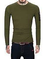 Для мужчин На каждый день Офис Для клуба Винтаж Простое Обычный Пуловер Однотонный,Круглый вырез Длинный рукав Шерсть Хлопок