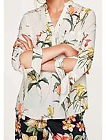 Для женщин На выход На каждый день Лето Осень Рубашка V-образный вырез,Секси Простое Уличный стиль Цветочный принт Рукав 3/4,Хлопок