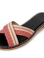 Для женщин Тапочки и Шлепанцы Удобная обувь Лето Ткань Для праздника Комбинация материалов На плоской подошве Лиловый Кофейный Красный