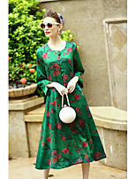 Для женщин На каждый день Шинуазери (китайский стиль) Свободный силуэт Платье Цветочный принт,Круглый вырез Средней длины Длинный рукав