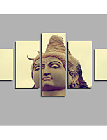 India Buddha Portrait Oil Painting Religion Prints HD Large 5 Pieces Combined Posters For Modern Home Livingroom Background Wall Artworks