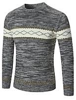 Для мужчин Праздники На выход На каждый день Офис Для клуба Винтаж Простое Очаровательный Обычный Пуловер Контрастных цветов,Круглый вырез