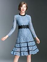 Для женщин На выход На каждый день Простое Уличный стиль Изысканный Оболочка Кружева С летящей юбкой Платье Контрастных цветов Вышивка,
