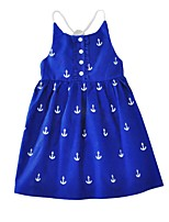 Fashion Girl's Dress Cotton Summer Sleeveless Anchor Printing Kids Girls Dress for 3-8Y