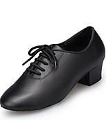Для женщин Латина Кожа На каблуках Профессиональный стиль На толстом каблуке Черный 2,5 - 4,5 см