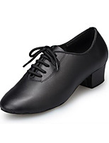 Women's Latin Leather Heels Indoor/Professional Chunky Heel Black 1 - 1 3/4