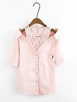 Для женщин На выход На каждый день Лето Рубашка Вырез лодочкой,Секси Простое Уличный стиль Контрастных цветов С короткими рукавами,Хлопок,