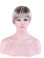 Women Short Silver Straight Ombre Hair Pixie Cut Synthetic Hair Capless Halloween Wig Natural Wig Costume Wigs