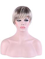 Mujer Sin Tapa Corto Liso Plata Pelo Ombre Corte Pixie Peluca natural Peluca de Halloween Las pelucas del traje