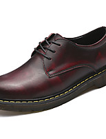 Men's Oxfords Light Soles Spring Fall PU Casual Lace-up Flat Heel Ruby Brown Black Flat