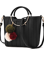 Women Bags All Seasons PU Tote with for Casual Formal Outdoor Office & Career Black Blushing Pink Clover