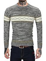 Herren Standard Pullover-Lässig/Alltäglich Arbeit Retro Einfach Gestreift Einfarbig Rundhalsausschnitt Langarm Wolle Kunst-Pelz Baumwolle