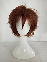 30cm Brown  Cosplay Wig Male Haircut Short Layered Hairstyles Synthetic Hair