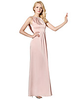 Sheath / Column Jewel Neck Floor Length Stretch Satin Prom Formal Evening Date Dress with Beading by Sarahbridal