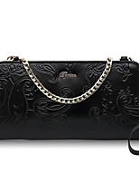 Women Clutch Cowhide All Seasons Casual Rectangle Zipper Black