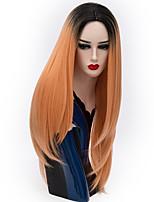 Parrucche naturali sintetico Senza tappo Parrucche Lungo Rosa Viola Blu Argento viola Oro rosa Capelli