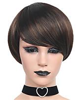 Парики из искусственных волос Без шапочки-основы Короткий Прямые Бежевый Парик из натуральных волос Карнавальные парики