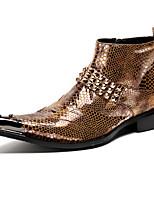 Для мужчин обувь Наппа Leather Осень Зима Удобная обувь Оригинальная обувь Модная обувь Ботильоны Туфли на шнуровке Ботинки Заклепки