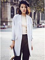 Women's Casual/Daily Simple Spring Coat,Solid Peaked Lapel Long Sleeve Long Polyester