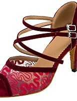 Women's Latin/Ballroom Dance Shoes Flocking Net Sandals Heels Professional Laces Buckle Customized Heel Ruby Brown Black