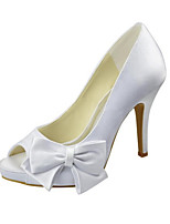Women's Wedding Shoes Basic Pump Spring Summer Stretch Satin Wedding Dress Bowknot Stiletto Heel White 4in-4 3/4in