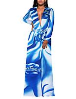 Fodero Vestito Da donna-Feste Per uscire Serata Sensuale Vintage Moda città Fantasia floreale Monocolore A V scollato Maxi Manica lunga