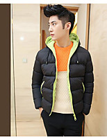 Men's Regular Padded Coat,Simple Going out Solid Striped Print-Cotton Acrylic Polypropylene Long Sleeve