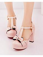Mujer Zapatos PU Verano Confort Tacones Para Casual Blanco Rosa Azul Claro