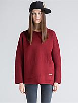 Для женщин На каждый день Простое Короткий Пуловер Однотонный,Круглый вырез Длинный рукав Шерсть Полиэстер Осень Зима Средняя