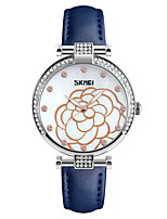 Skmei® Women's Dress Leather Strap Quartz Rhinestones Wrist Watch 30m Waterproof Assorted Colors