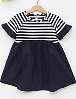 Girl's Solid Striped Dress,Cotton Short Sleeve