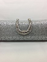 Women Evening Bag Metal All Seasons Event/Party Rectangle Ruffles Push Lock Silver Champagne