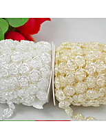 10 M White/Beige Flat Back Rose Flower Pearl String Acrylic Beads String For Wedding Decoration