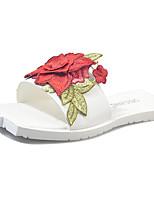 Для женщин Тапочки и Шлепанцы Удобная обувь Полиуретан Лето Повседневные Для прогулок Цветы На плоской подошве Белый Желтый Розовый4,5 -