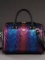 Women Bags All Seasons Cowhide Shoulder Bag with for Casual Blue