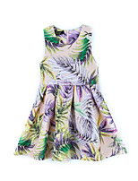Girl's Print Dress,Linen Bamboo Fiber Acrylic All Seasons Sleeveless