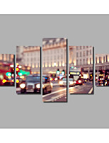5 Picees London City Scenery Posters Livingroom Decoration Framed Beautiful Street Nighty Lights Painting on Canvas For Modern Home Wall Art