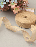 5M 3.8 cm (1) Natural Jute Burlap Hessian Ribbon with Lace Trims Tape Rustic Wedding Decor Wedding Cake Topper