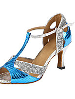 Women's Latin Synthetic Glitter Heels Indoor/Professional Sparkling Glitter Pattern/Print Cuban Heel Blue 2 - 2 3/4 3 - 3 3/4 Customizable