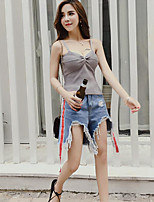 Women's Casual/Daily Sexy Simple Tank Top,Solid Strap Sleeveless Cotton