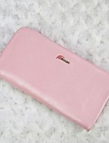 Women Checkbook Wallet  Leather Type All Seasons Daily Casual Rectangle Zipper Blushing Pink