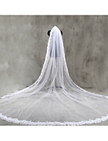 Bride Wedding White / Ivory Veil One-tier Chapel Veils Cathedral Veils Sequins Lace Applique Edge Lace Tulle