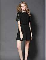 GODDESS PIER Women's Going out Cute Sheath DressEmbroidered Round Neck Above Knee Short Sleeve Polyester Summer Mid Rise Micro-elastic Medium