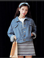 Women's Going out Casual/Daily Simple Spring Denim Jacket,Solid Shirt Collar Long Sleeve Short Cotton