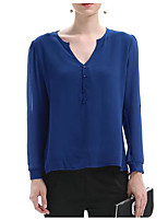 Women's Casual/Daily Simple Summer Blouse,Solid V Neck Long Sleeve Polyester Thin
